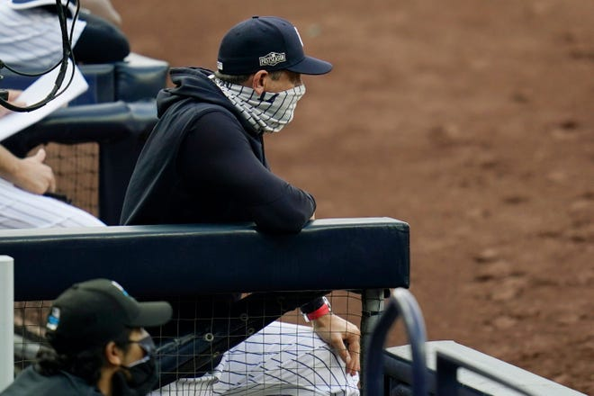 """New York Yankees manager Aaron Boone said he understands """"the frustrations of the fan base, but I think if you really look at it, it's razor thin, the difference between us and say the team that's going to win the World Series this year."""""""