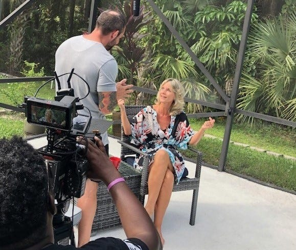 Actress Celia Gruss (right) films a scene from Deadly Night Out during a nine-day shoot in Jupiter Farms. The psychological thriller is expected to be released next year.