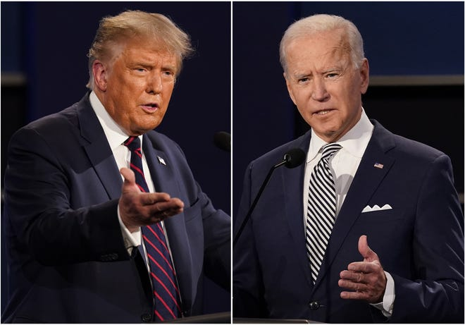 This combination of Sept. 29, 2020, photos shows President Donald Trump, left, and former Vice President Joe Biden during the first presidential debate at Case Western University and Cleveland Clinic, in Cleveland, Ohio. The Commission on Presidential Debates says the second Trump-Biden debate will be 'virtual' amid concerns about the president's COVID-19. [AP Photo/Patrick Semansky]