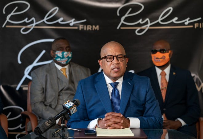 Attorney Richard Ryles of the Democratic Black Caucus of Palm Beach County speaks Thursday at his office in West Palm Beach during a press conference over protecting the Black vote.