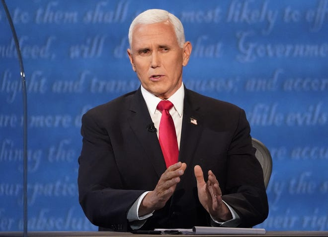 Vice President Mike Pence speaks during the vice presidential debate Democratic vice presidential candidate Sen. Kamala Harris, D-Calif., Wednesday, Oct. 7, 2020, at Kingsbury Hall on the campus of the University of Utah in Salt Lake City. [AP Photo/Julio Cortez]
