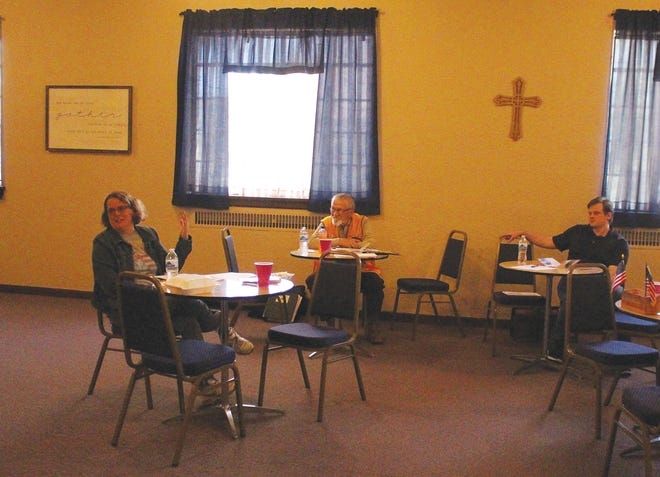 Chelsey Rose (left) Prairie Independent Resource Living Center representative, speaks to the Pratt Lions Club at a recent meeting about the ways PILR can provide help to those in need in Pratt. The center recently received a grant from SCCF to provide help in guiding those with disabilities towards gainful employment.