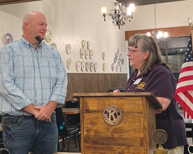 Kansas Kiwanis Lt. Governor Linda Keller installs Brian Atteberry as President of the Pratt Kiwanis club during a meeting held Wednesday, October 7.