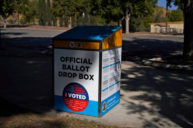 An official ballot drop box is seen Wednesday in Santa Clarita, Calif. With more than 1.5 million votes already cast in California, state Republican Party leaders on Wednesday said they will not comply with an order from the state's chief elections official to remove unofficial ballot drop boxes from counties with competitive U.S. House races.