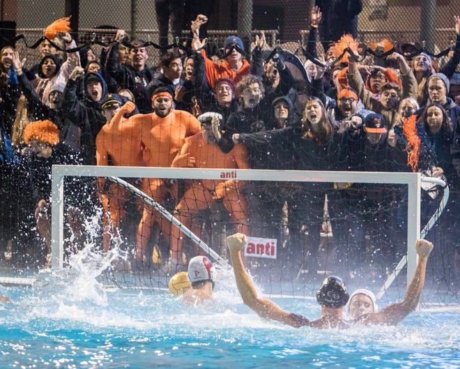 University of the Pacific's Luke Araya pumps up the crowd after making a goal against Pepperdine Dec. 7 at the NCAA National Championship semifinal match at Chris Kjeldsen Pool. Pacific was selected to host the 2023 NCAA women's water polo championship.