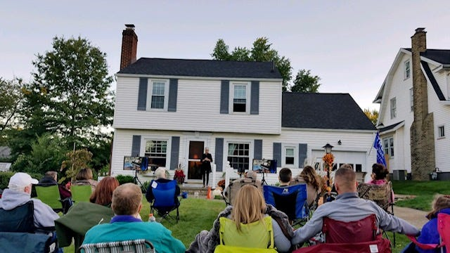 """Carol McKimm learned a book of piano music and has been inviting her neighbors to concerts outside her home during the pandemic. The shows are called """"A Grande Piano Soiree."""""""