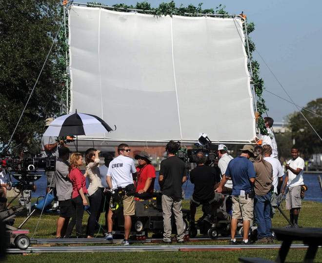"""The cast and crew of """"One Tree Hill,"""" including Sophia Bush and Bethany Joy Lenz, film a scene in Battleship Park along the Cape Fear River in Wilmington on Thursday, October 27, 2011, during production on the ninth and final season."""