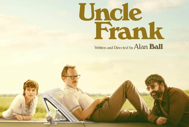 "Sophia Lillis (left to right), Paul Bettany and Peter Macdissi star in the Wilmington-shot ""Uncle Frank,"" out Nov. 25."