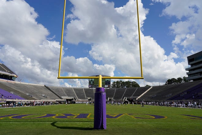 Dowdy-Ficklen Stadium on the campus of East Carolina. The Pirates return home this weekend after their first win of the season Saturday at USF. [ASSOCIATED PRESS PHOTO]