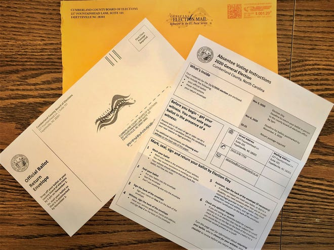 North Carolina mail-in ballot materials for the 2020 general election, in Fayetteville, North Carolina on Saturday, Sept. 5, 2020.