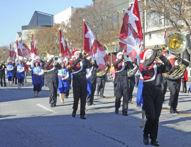 The Southside High School band marches up Broad Street on Dec. 7 during the Gadsden Kiwanis Club's annual Christmas Parade. This year's parade has been canceled because of the COVID-19 pandemic.