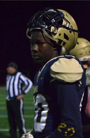 Newburgh junior linebacker Semaj Branch honors his mother, Teneka Patterson, who lost a battle with breast cancer, on and off the football. Branch was recently nominated for the Heart of a Giant award, presented by the New York Giants. PHOTO PROVIDED BY NEWBURGH FOOTBALL