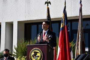 U.S. Attorney Matt Martin speaks about Project Safe Neighborhood at a press conference on Oct. 14.