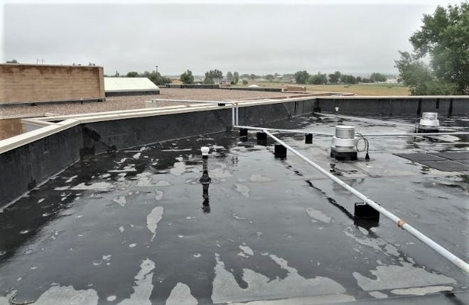Moisture on the leaky roof of Sierra Vista Elementary School means moisture inside the school.