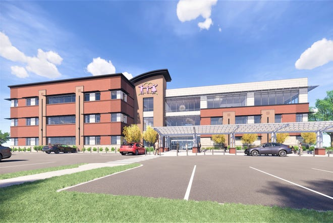 An architectural rendering of the new East Side clinic, expected to open in October 2021.