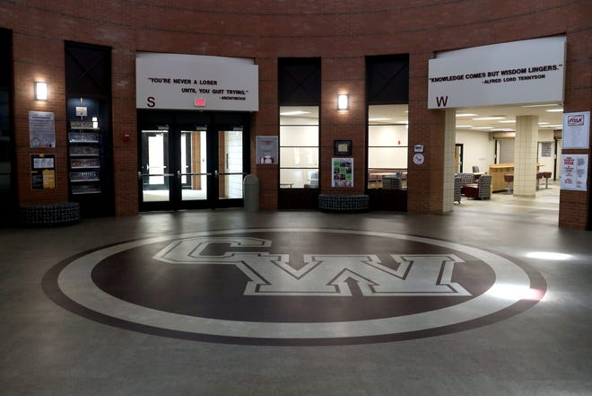 The school logo adorns the new flooring inside the rotunda at Canal Winchester High School. The remodeling project cost $27.1 million and was completed Aug. 17, adding 43,000 square feet to the building. The renovations included the addition of 16 classrooms, an attached auxiliary gym, a new library learning area, updated HVAC, a new security system and updated hallways.