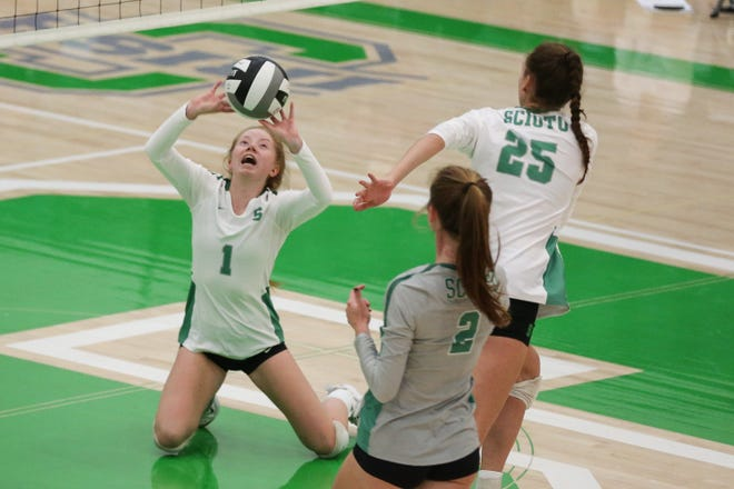 Scioto's Abby Leonard helped the Irish finish 14-0 in the OCC-Capital Division for their second consecutive league title. Leonard had a team-high 806 through 23 matches and a program-record 2,070 for her career.