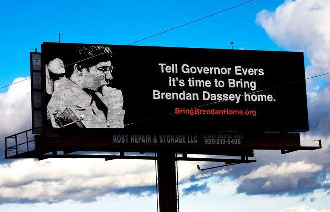 This billboard along Interstate 41 near Oshkosh calls on Gov. Tony Evers to grant clemency to Brendan Dassey, who is serving life in prison in connection with Teresa Halbach's murder.