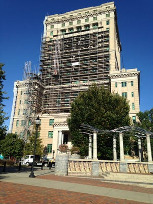 Work is taking place on the exterior of the Buncombe County Courthouse, part of a project to remediate the exteriors of the courthouse, the county administration building and the Detention Center.