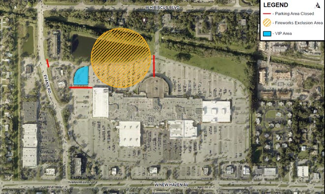 The yellow circle shows the Veterans Day fireworks launch zone near the northwest corner of the Melbourne Square mall.