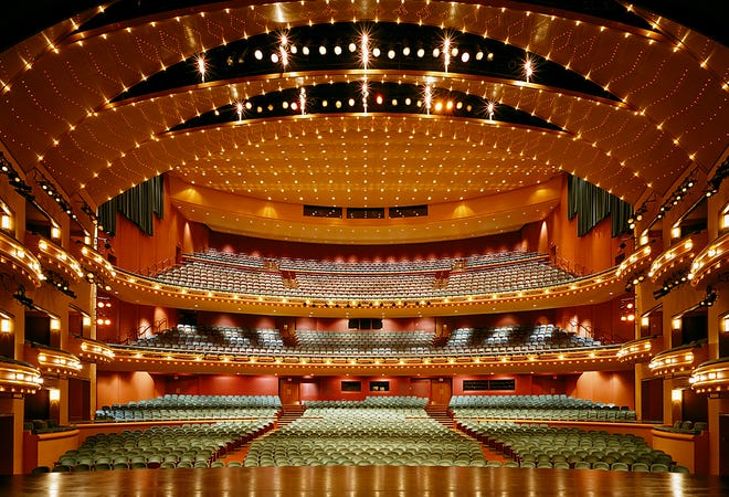 A more formal view of the hall, from a performer's vantage point.