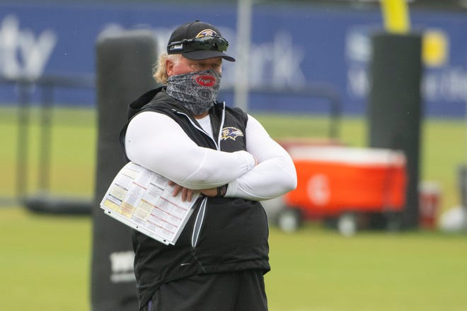 Baltimore Ravens defensive coordinator Don Martindale watches defensive player drills during the morning session of training camp at Under Armour Performance Center on Aug. 19, 2020.