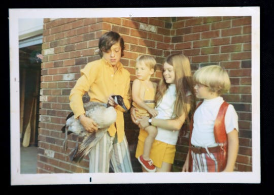 Drew Bertinelli holds a Canadian goose in her arms as Pat Fabrizio watches as he is held by Valerie Bertinelli and her brother Patrick Bertinelli in a photo taken in the 1970s. Fabrizio's neighbors were the Bertinellis, whose daughter Valerie became an actress and later dated and married Eddie Van Halen, the legendary guitarist of the rock group Van Halen. In the early 1980s, when Van Halen's rock band was playing at nearby Pine Knob, Fabrizio met him when he went to the Bertinelli house.