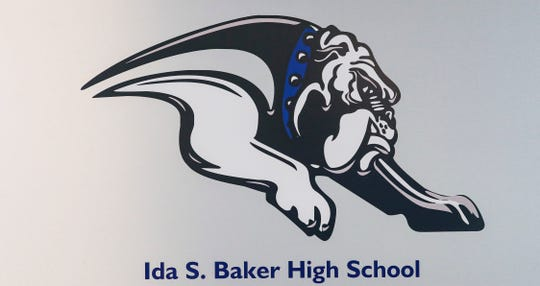 Harns Marsh Middle School has decked out its cafeteria with high school swag, trying to get kids thinking about their future. The school is the district's only middle school with a career specialist on staff. Ida S. Baker High School sign.