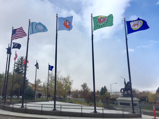 The Tribal Flag Plaza was unveiled Wednesday, giving a new look to the outside of the state Capitol and honoring Native Americansin Montana