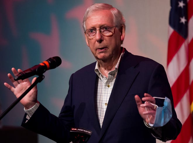 U.S. Senate Majority Leader Mitch McConnell, R-KY., addresses the media during a press conference at the Preston Arts Center at Henderson Community College in Henderson, Ky., Thursday morning, Oct. 15, 2020.