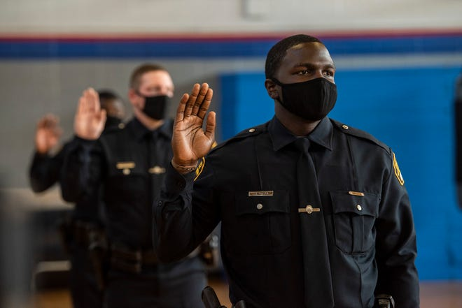 The graduation of Montgomery Police Academy class of 2020-B in Montgomery, Ala., on Thursday, Oct. 15, 2020.