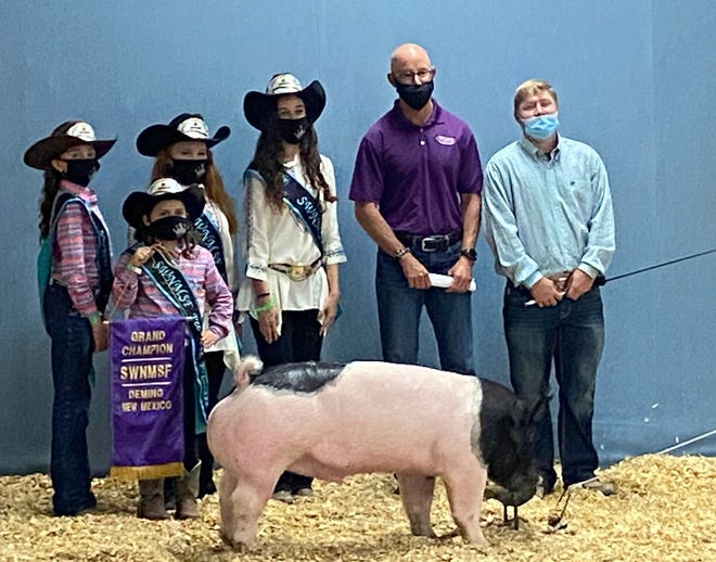 Peppers Supermarket purchased Kincade Jackson's Grand Champion swine. Pictured, from left, are, Luna County Fair Royalty Kendahl Bingham, Jr. Princess; Akemi Smith, Pee Wee Princess; Calleigh Sweetser, Queen; Trinity Ruebush, Princess; Mark Schultze and Kincade Jackson.