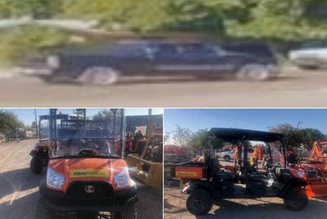 Police are looking for the suspect or suspects who stole three new utility terrain vehicles from a Las Cruces dealership earlier this week. One UTV was recovered as the suspect fled in a black or dark blue Chevy pickup (top). The two UTVs that are unaccounted for are both 2020 Kubota UTVs. One is orange (bottom left) and one is camouflage (bottom right).