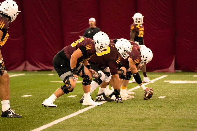 ASU's offensive line practices inside the bubble on Thursday, Oct. 15, 2020.