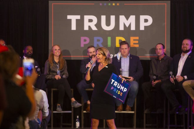Arizona Republican Party Chair Kelli Ward introduces the panelists at the Trump Pride roundtable event at the Kimpton Hotel Palomar in Phoenix on Oct. 14, 2020.
