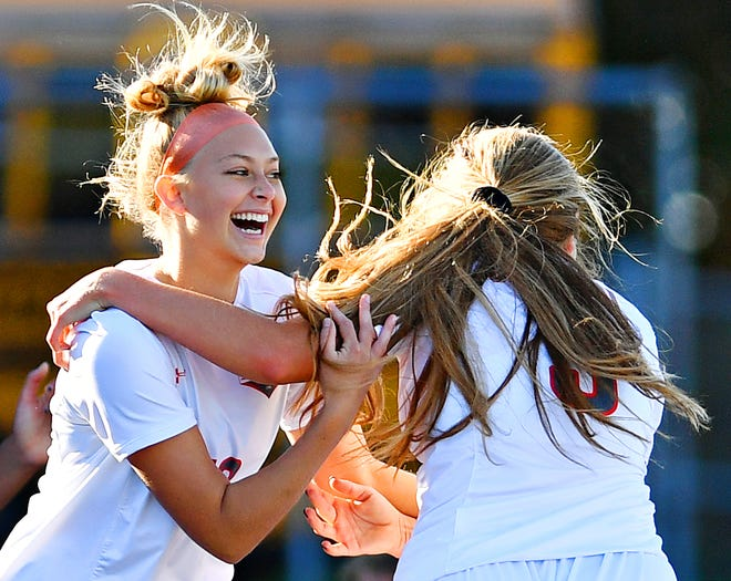 Central York celebrates a goal during girls' soccer action against Dallastown at Dallastown Area High School in York Township, Thursday, Oct. 15, 2020. Central York would win the game 1-0. Dawn J. Sagert photo