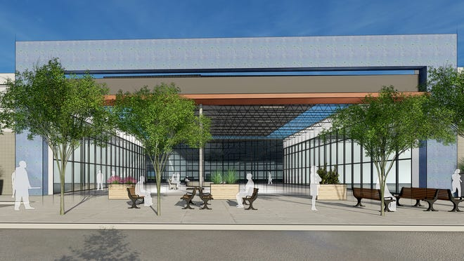 A rendering of the main entrance of The Oddie District project. The development is an adaptive reuse of an old Lowe's building and will house art maker space the Generator, the Innovation Collective, a brewery and distillery, and retail and restaurants.