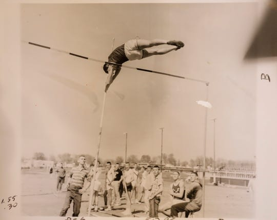 Bill Anderson pole vaults at Southwest Missouri State. He was one of the nation's best in the decathlon.