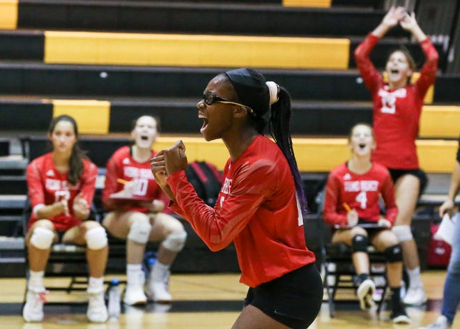 Vero Beach's Destiny Nelson (15) celebrates a point against Fort Pierce Central in the District 16-7A volleyball championship match at Treasure Coast High School on Wednesday, Oct. 14, 2020, in Port St. Lucie.