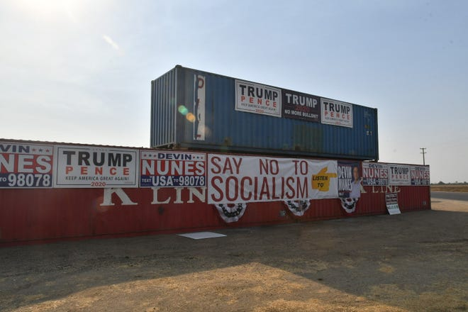 The new political display stretches 80-feet wide and stands 18-feet tall at the Tulare County Stockyard, near Dinuba.