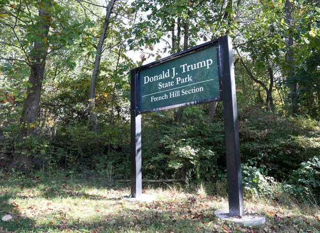 The Donald J. Trump State Park signs in Yorktown Heights, New York.