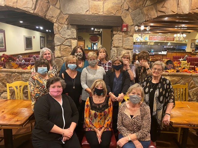 Senior Junior Forum past presidents recently enjoyed getting together at Johnny Carino's for dinner. Pictured from left to right: Mary Brasher,  Mary Sue Hogan ,Angela Culley. Second row, left to right: Debi Ballard, Kim Ballard,Debi Ferrell, Kathy Tegtmeyer, Nancy Ashbrook. Third row, left to right: Linda Christoff,Debbie Berend, Liz Wathen, Carolyn Cobble, Ginger Beisch.