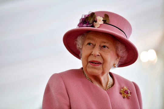 Queen Elizabeth II visits the Defence Science and Technology Laboratory at Porton Down, England, Oct. 15, 2020.