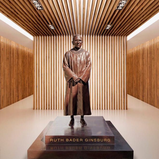 This statue of Ruth Bader Ginsburg by artists Gillie and Marc was unveiled on March 12 in Brooklyn.