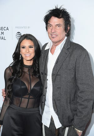 Brittany Furlan, left, and husband Tommy Lee at the 2018 Tribeca Film Festival in New York.