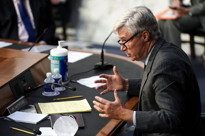 Sen. Sheldon Whitehouse (D-R.I.) speaks during a Senate Judiciary Committee business meeting prior to the fourth day for the confirmation hearing of President Donald Trumps Supreme Court nominee Judge Amy Coney Barrett.