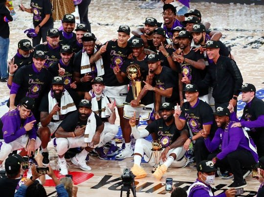 The Lakers celebrate their 2020 championship.