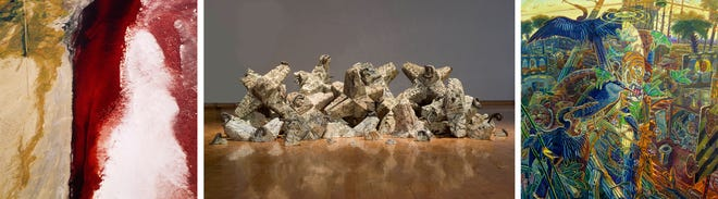 """Pieces featured in the three parts that make up the Amarillo Museum of Art's """"Precipice"""" exhibition"""