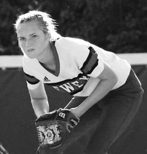 Shortstop Savana Moll prepares to make a play for the Dewey High School softball team.