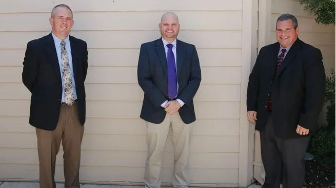 School superintendents, from left,  Dr. Josh Martin  (Bangs), Dr. Dewayne Wilkins (Early) and Dr. Joe Young (Brownwood) are pictured outside the Brownwood Country Club in August after speaking about their school districts at the Brownwood Area Chamber of Commerce's monthly luncheon.